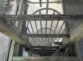failed wooden ladder rung